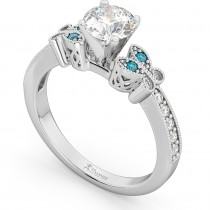 Blue Diamond Butterfly Engagement Ring in 14k White Gold (0.17ct)