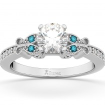 Blue Diamond Butterfly Engagement Ring in 18k White Gold (0.17ct)