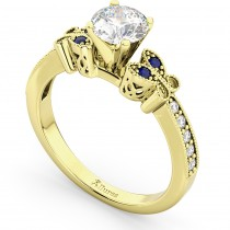 Butterfly Diamond & Sapphire Engagement Ring 18k Yellow Gold (0.20ct)