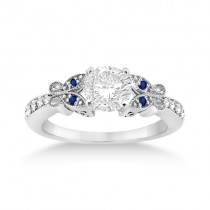 Butterfly Diamond & Sapphire Engagement Ring Palladium (0.20ct)