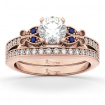 Butterfly Diamond & Blue Sapphire Bridal Set 14k Rose Gold (0.42ct)