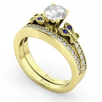 Butterfly Diamond & Blue Sapphire Bridal Set 14k Yellow Gold (0.42ct)