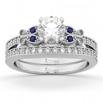 Butterfly Diamond & Blue Sapphire Bridal Set 18k White Gold (0.42ct)