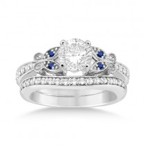Butterfly Diamond & Blue Sapphire Bridal Set Platinum (0.42ct)