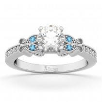 Butterfly Diamond & Blue Topaz Engagement Ring 14k White Gold (0.20ct)