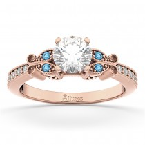 Butterfly Diamond & Blue Topaz Engagement Ring 18k Rose Gold (0.20ct)