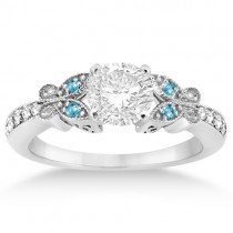 Butterfly Diamond & Blue Topaz Engagement Ring Platinum (0.20ct)
