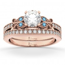 Butterfly Diamond &  Blue Topaz Bridal Set 14k Rose Gold (0.42ct)