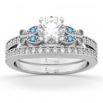 Butterfly Diamond &  Blue Topaz Bridal Set 14k White Gold (0.42ct)