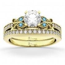 Butterfly Diamond &  Blue Topaz Bridal Set 14k Yellow Gold (0.42ct)
