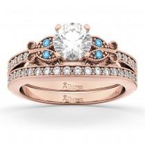 Butterfly Diamond &  Blue Topaz Bridal Set 18k Rose Gold (0.42ct)