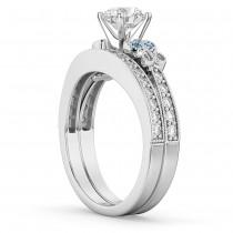 Butterfly Diamond &  Blue Topaz Bridal Set 18k White Gold (0.42ct)