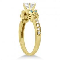 Butterfly Diamond &  Blue Topaz Bridal Set 18k Yellow Gold (0.42ct)