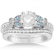Butterfly Diamond & Blue Topaz Bridal Set Palladium (0.42ct)