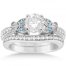 Butterfly Diamond &  Blue Topaz Bridal Set Platinum (0.42ct)