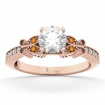Butterfly Diamond & Citrine Engagement Ring 14k Rose Gold (0.20ct)