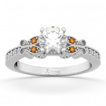 Butterfly Diamond & Citrine Engagement Ring 14k White Gold (0.20ct)