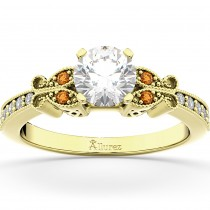 Butterfly Diamond & Citrine Engagement Ring 18k Yellow Gold (0.20ct)