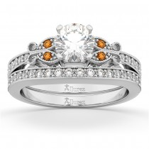Butterfly Diamond & Citrine Bridal Set 14k White Gold (0.42ct)