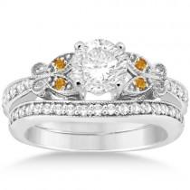 Butterfly Diamond & Citrine Bridal Set Palladium (0.42ct)