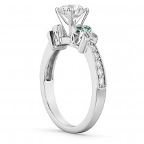 Butterfly Diamond & Emerald Engagement Ring 14k White Gold (0.20ct)