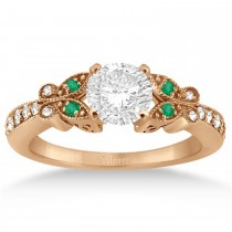 Butterfly Diamond & Emerald Engagement Ring 18k Rose Gold (0.20ct)