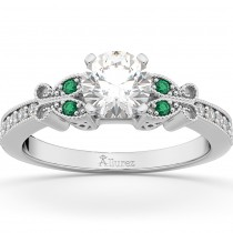 Butterfly Diamond & Emerald Engagement Ring 18k White Gold (0.20ct)