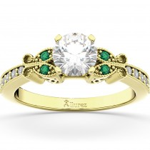 Butterfly Diamond & Emerald Engagement Ring 18k Yellow Gold (0.20ct)
