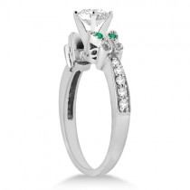 Butterfly Diamond & Emerald Engagement Ring Palladium (0.20ct)