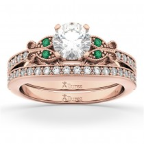 Butterfly Diamond & Emerald Bridal Set 14k Rose Gold (0.42ct)