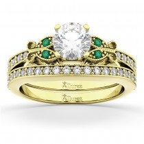 Butterfly Diamond & Emerald Bridal Set 14k Yellow Gold (0.42ct)