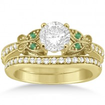 Butterfly Diamond & Emerald Bridal Set 18k Yellow Gold (0.42ct)