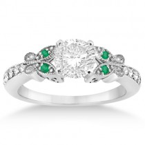 Butterfly Diamond & Emerald Bridal Set Palladium (0.42ct)