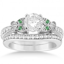Butterfly Diamond & Emerald Bridal Set Platinum (0.42ct)