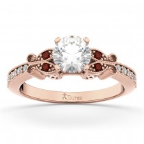 Butterfly Diamond & Garnet Engagement Ring 14k Rose Gold (0.20ct)