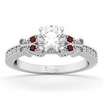 Butterfly Diamond & Garnet Engagement Ring 14k White Gold (0.20ct)