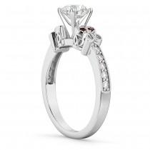Butterfly Diamond & Garnet Engagement Ring 14k White Gold (0.20ct)