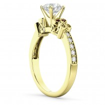 Butterfly Diamond & Garnet Engagement Ring 14k Yellow Gold (0.20ct)