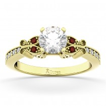 Butterfly Diamond & Garnet Engagement Ring 18k Yellow Gold (0.20ct)