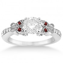 Butterfly Diamond & Garnet Engagement Ring Platinum (0.20ct)