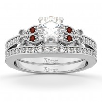 Butterfly Diamond & Garnet Bridal Set 14k White Gold (0.42ct)