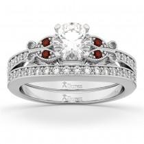 Butterfly Diamond & Garnet Bridal Set 18k White Gold (0.42ct)