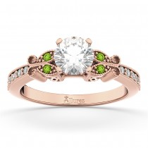 Butterfly Diamond & Peridot Engagement Ring 14k Rose Gold (0.20ct)