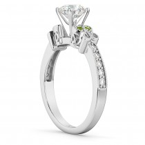 Butterfly Diamond & Peridot Engagement Ring 14k White Gold (0.20ct)