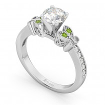 Butterfly Diamond & Peridot Engagement Ring 14k White Gold (0.20ct)