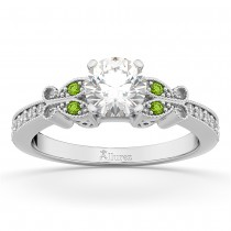 Butterfly Diamond & Peridot Engagement Ring 18k White Gold (0.20ct)