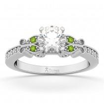Butterfly Diamond & Peridot Engagement Ring 18k White Gold (0.20ct)