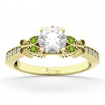 Butterfly Diamond & Peridot Engagement Ring 18k Yellow Gold (0.20ct)