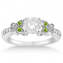 Butterfly Diamond & Peridot Engagement Ring Palladium (0.20ct)