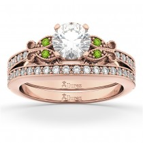 Butterfly Diamond & Peridot Bridal Set 14k Rose Gold (0.42ct)